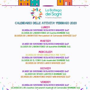 Centro di Quartiere La Bottega dei Sogni Programma di febbraio